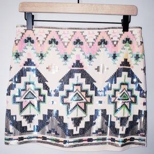 NWT Express Sequined Tribal Print Mini Skirt